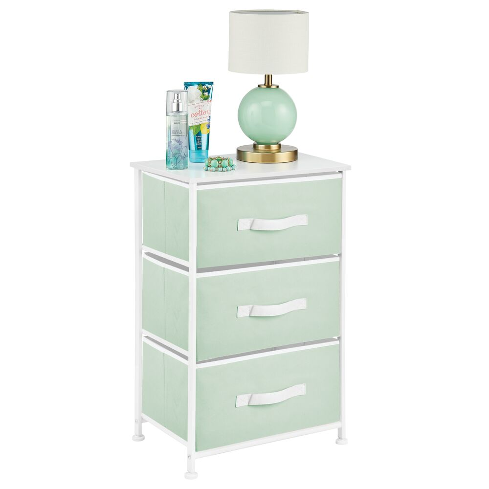 mDesign 3 Drawer Tall Fabric Dresser Cabinet Storage Organizer for Baby + Kids in Mint Green/White, 12
