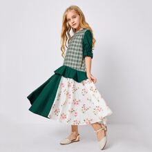 Girls Knot Flounce Sleeve Plaid & Floral Print Dress