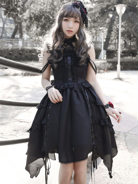 Milanoo Gothic Lolita Dress Neverland Souls Waltzes JSK Black Lolita Jumper Skirt Original Design