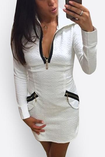 Yoins White Turndown Collar Deep V Zipper Front Design Party Dress