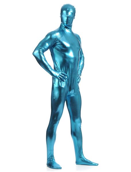Milanoo Disfraz Halloween Azul brillante metalico Zentai trajes de hombres Halloween
