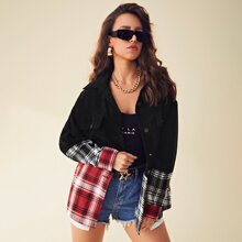 Single Breasted Colorblock Plaid Cord Coat