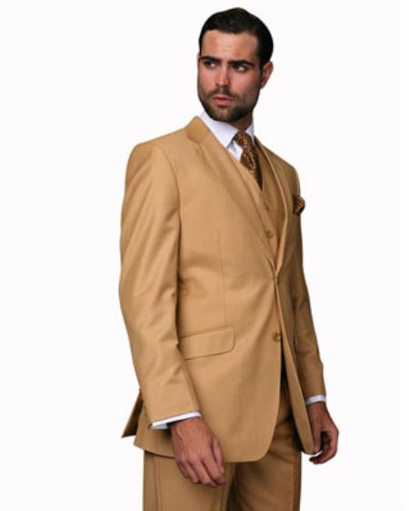Mens Camel 2 Button 100% Wool Vested 3 Piece Suit Pleated Pants
