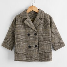 Zweireihiger Mantel mit Karo Muster