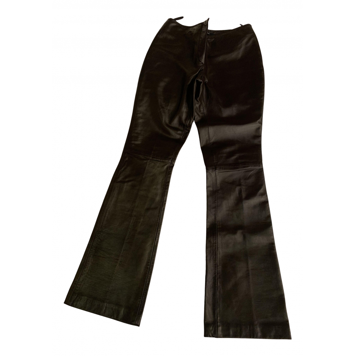Seventy N Brown Leather Trousers for Women 40 IT