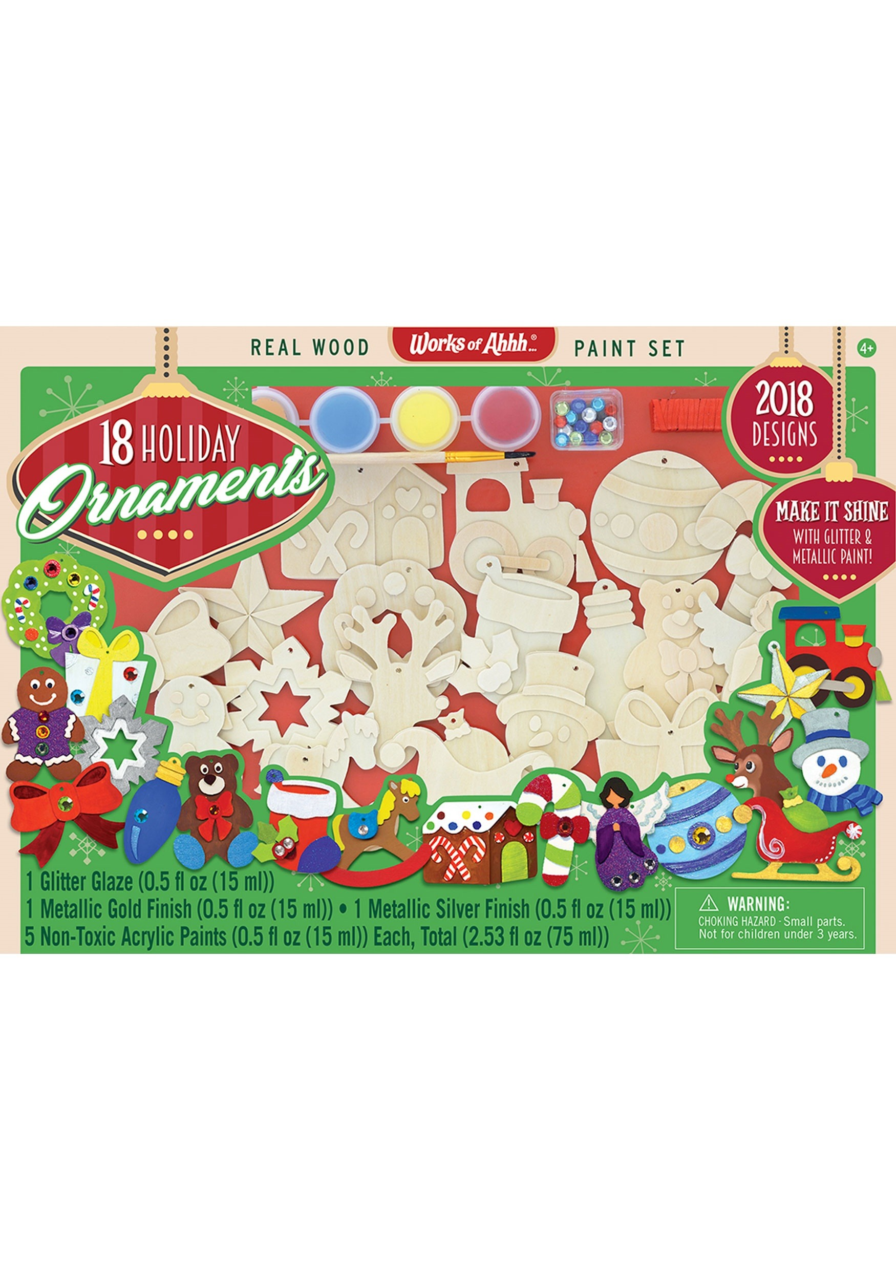 Works of Ahhh 18 Pack Christmas Ornaments Paint Set
