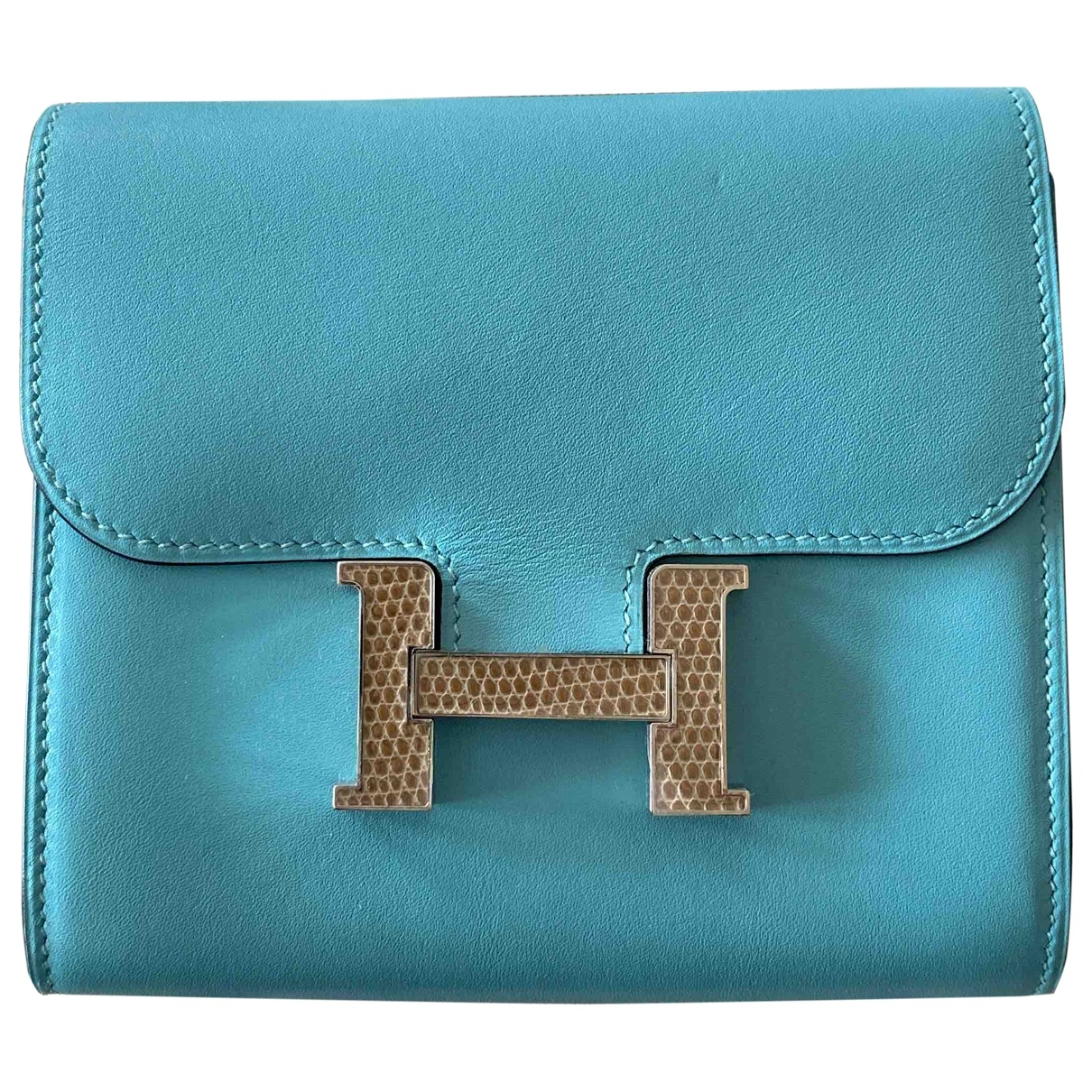 Hermes - Portefeuille Constance pour femme en cuir - bleu