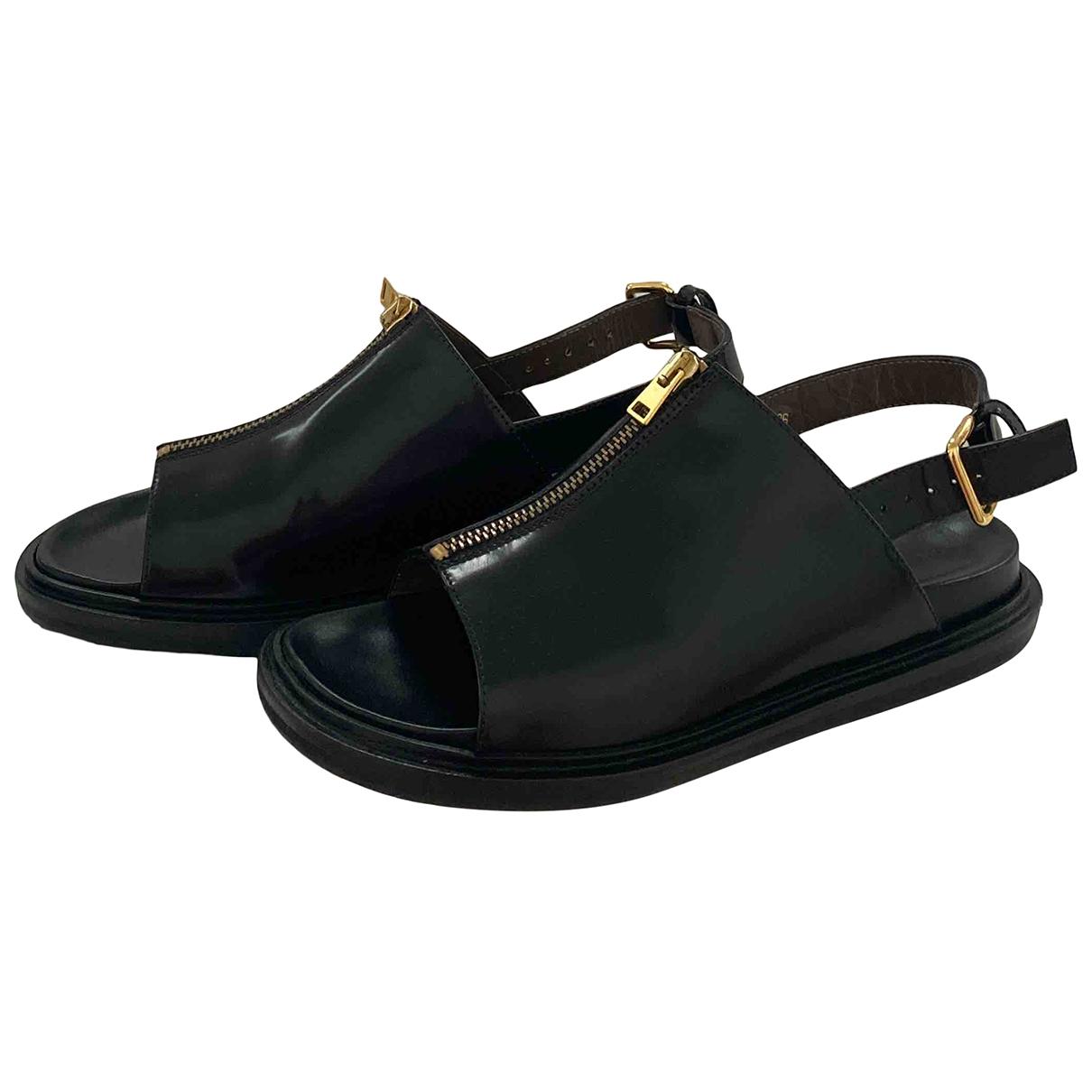 Marni - Sandales   pour femme en cuir - noir