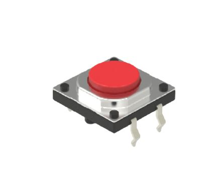 Alps Alpine Red Cap Tactile Switch, Single Pole Single Throw (SPST) 50 mA Snap-In (10)