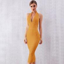 Adyce Strick figurbetontes Kleid mit tiefem Kragen
