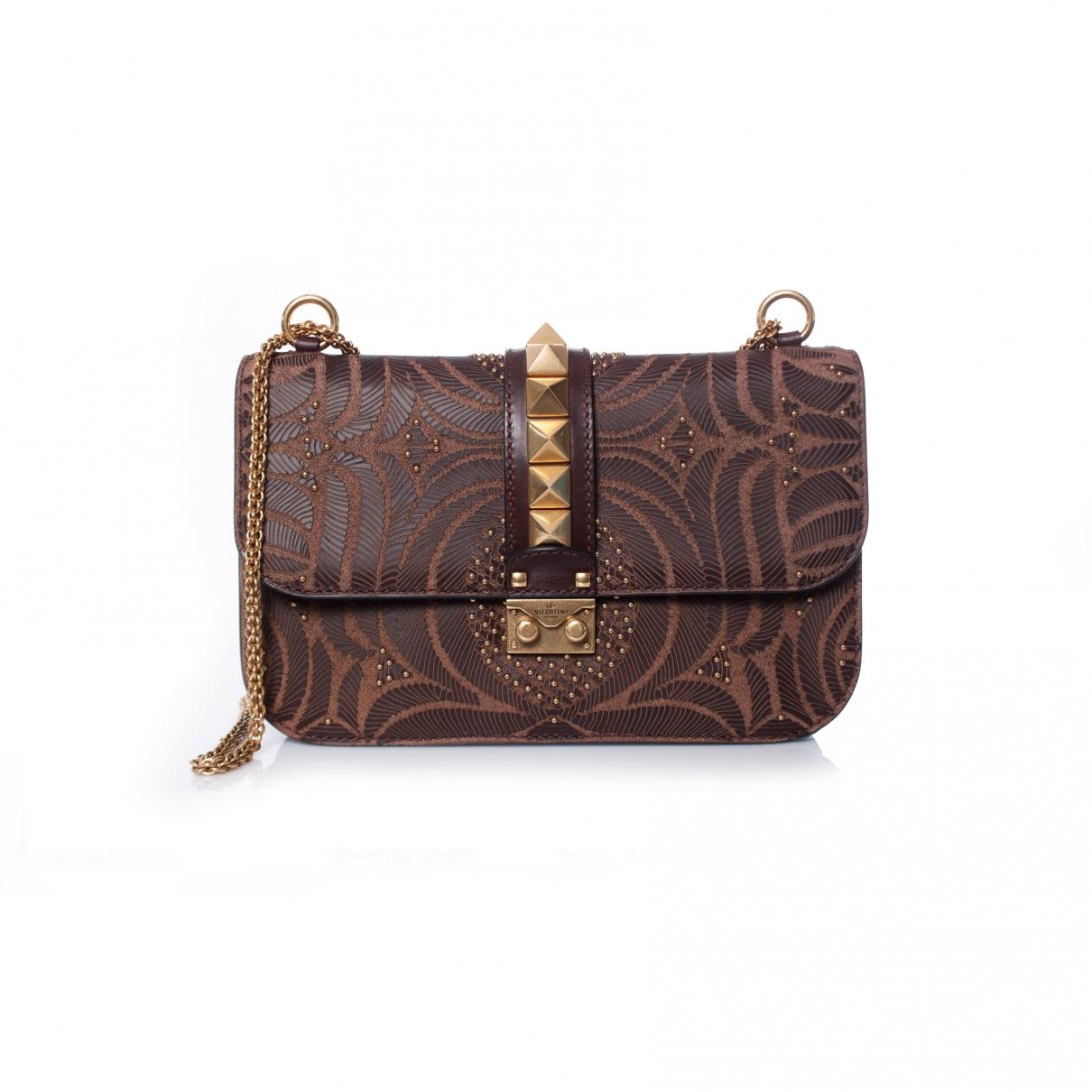 Valentino Garavani Glam Lock Handtasche in  Braun Leder