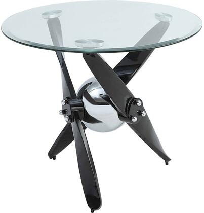 Hagelin Collection 84532 26 End Table with 8mm Clear Tempered Glass Top  Beveled Edges  Round Shape  Contemporary Style and Metal Propeller Base in