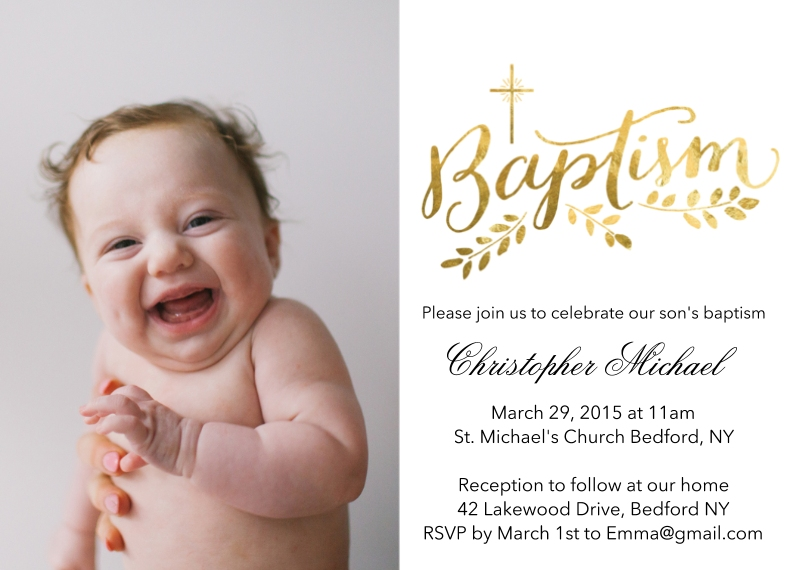 Christening + Baptism 5x7 Cards, Premium Cardstock 120lb, Card & Stationery -Baptism Gold Script