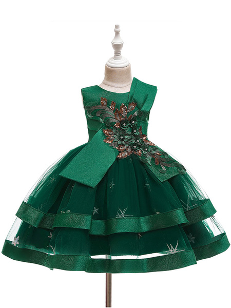Milanoo Flower Girl Dresses Jewel Neck Tulle Sleeveless Knee Length Ball Gown Bows Kids Party Dresses
