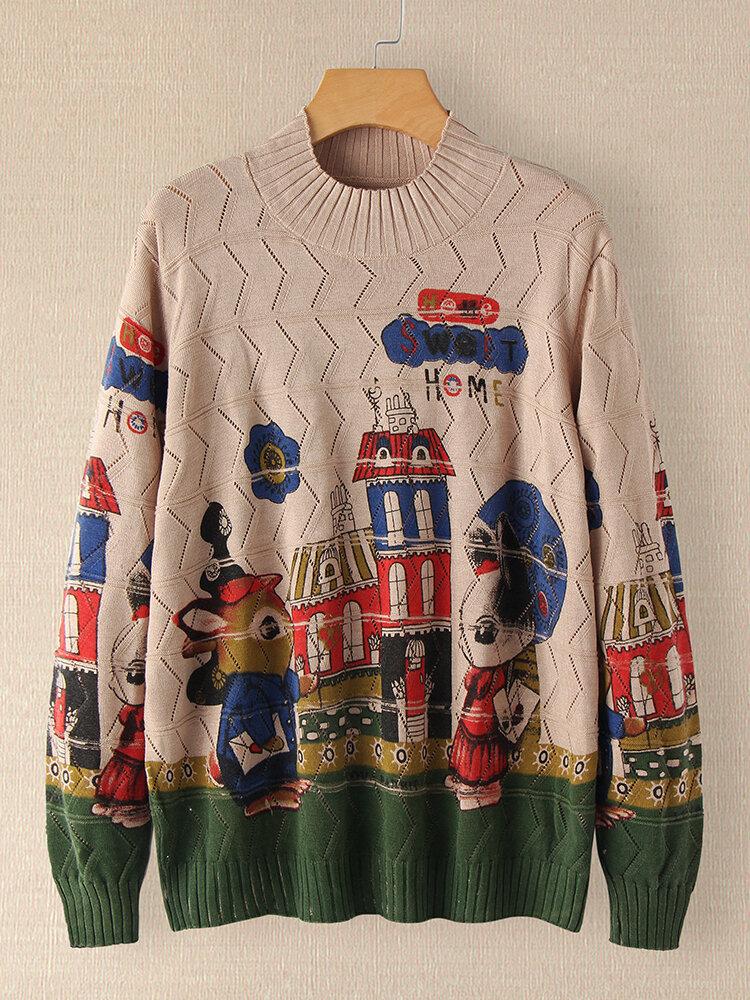 Cartoon Printed Long Sleeve Half-collar Sweater For Women