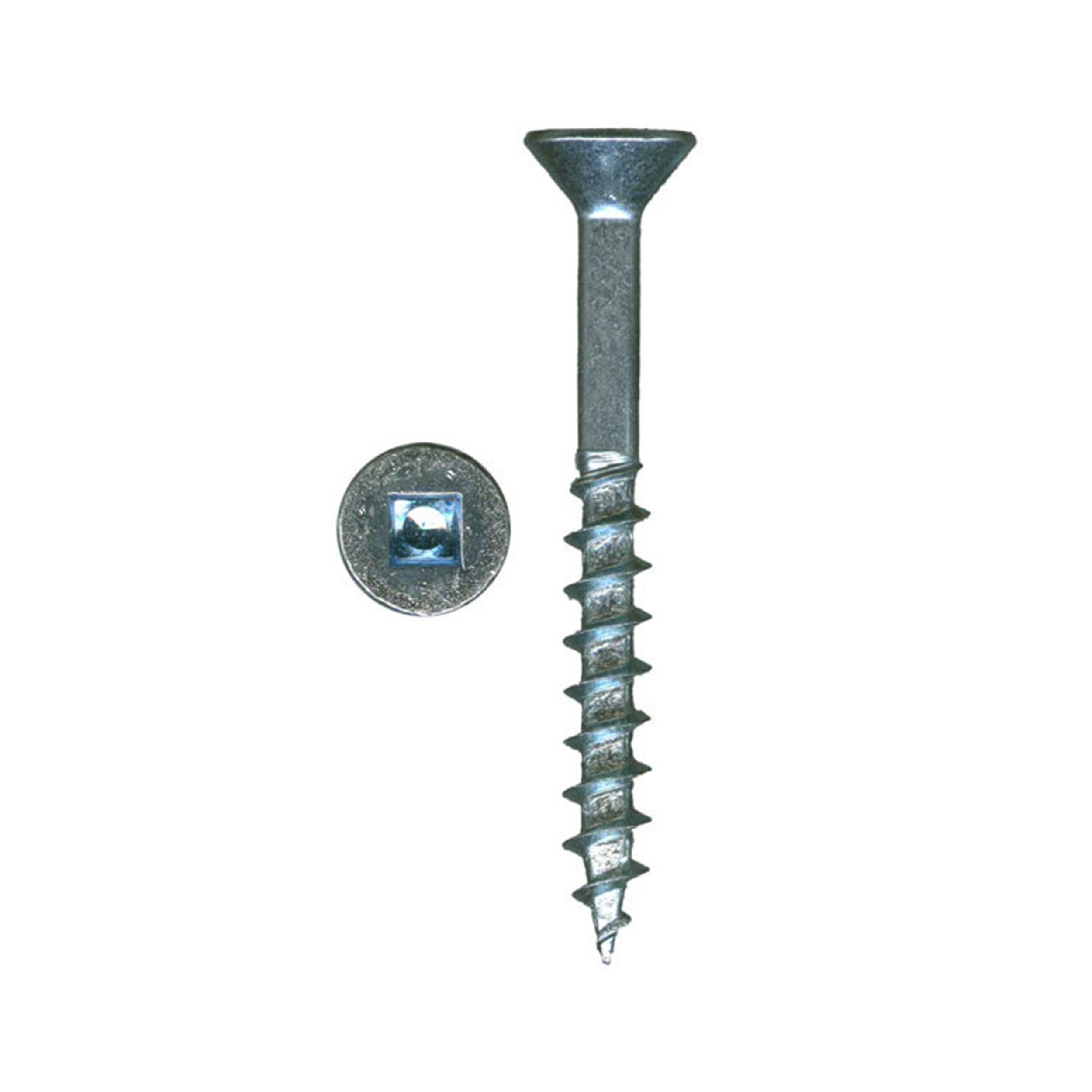8 x 1 XT Square Drive Woodworking Screws, Flat Head, Clear Zinc, 100-Piece