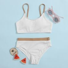 Girls Rib Contrast Trim Bikini Swimsuit