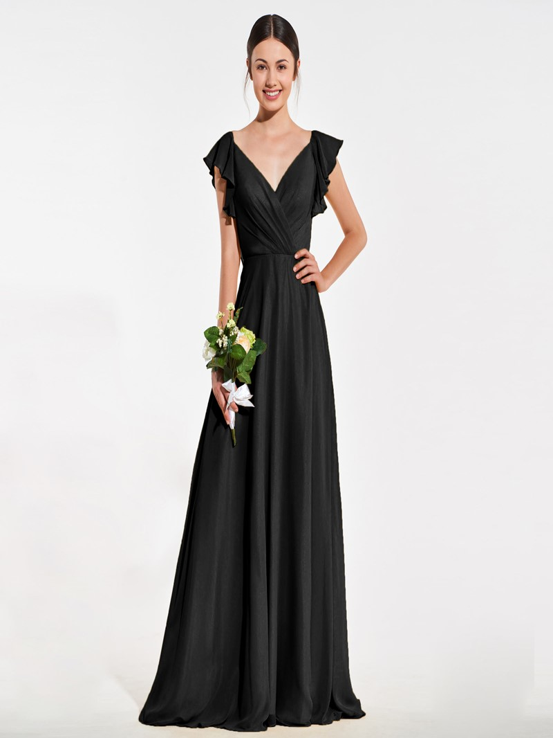 Ericdress A Line Cap Sleeve Backless Bridesmaid Dress