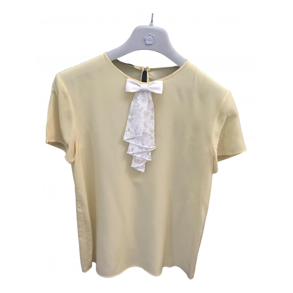 Miu Miu - Top   pour femme en soie - jaune