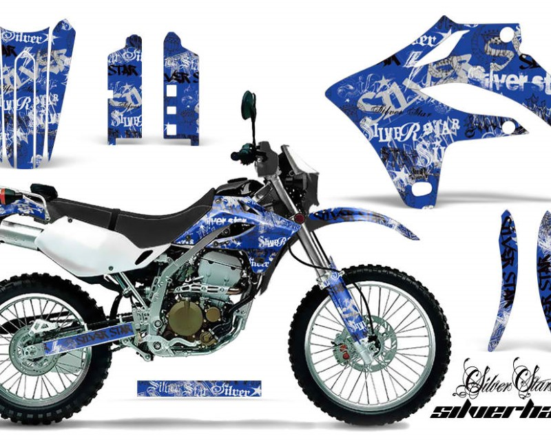 AMR Racing Dirt Bike Graphics Kit MX Decal Wrap For Kawasaki KLX250S 2004-2007áSSSH BLACK BLUE