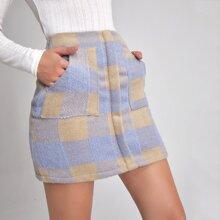 High Waist Buffalo Plaid Wool-Mix Fabric Skirt