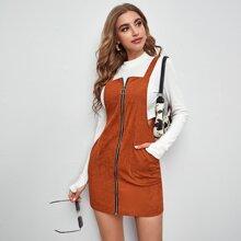 Pocket Front Zip Up Pinafore Dress