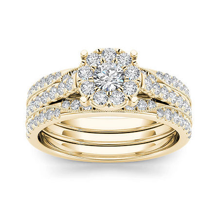 1 CT. T.W. Diamond 14K Yellow Gold Bridal Set, 6 1/2 , No Color Family