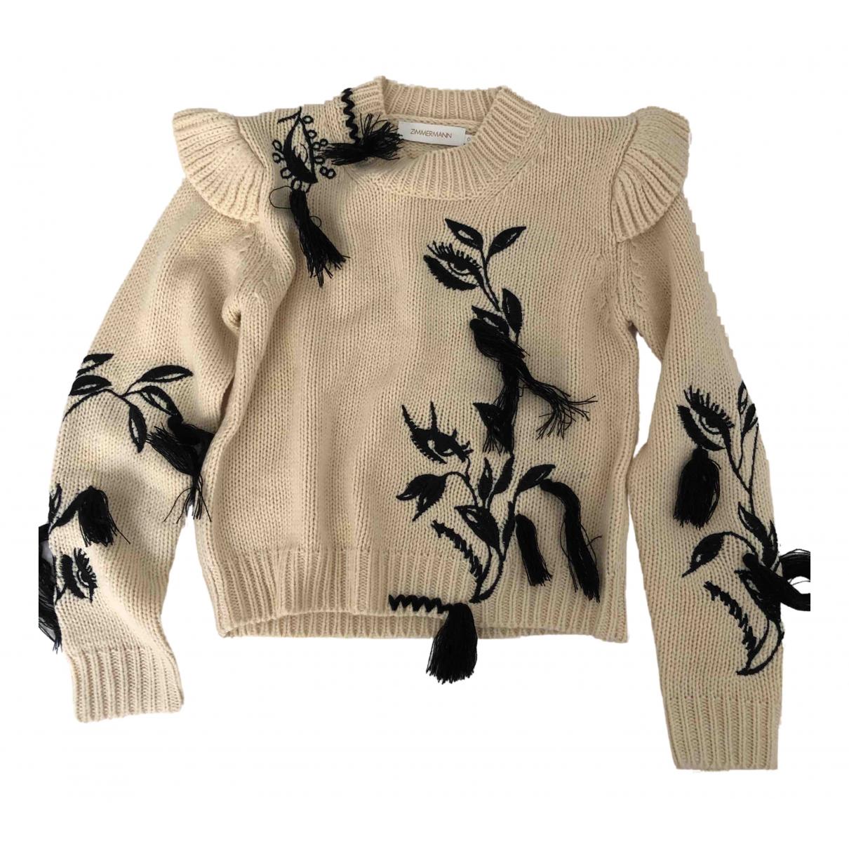 Zimmermann - Pull   pour femme en laine - ecru