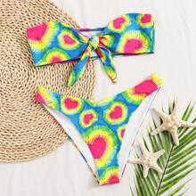 Bandeau Bikini Badeanzug mit Herzen Muster