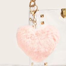 Plush Heart Shaped Charm Bag Accessory