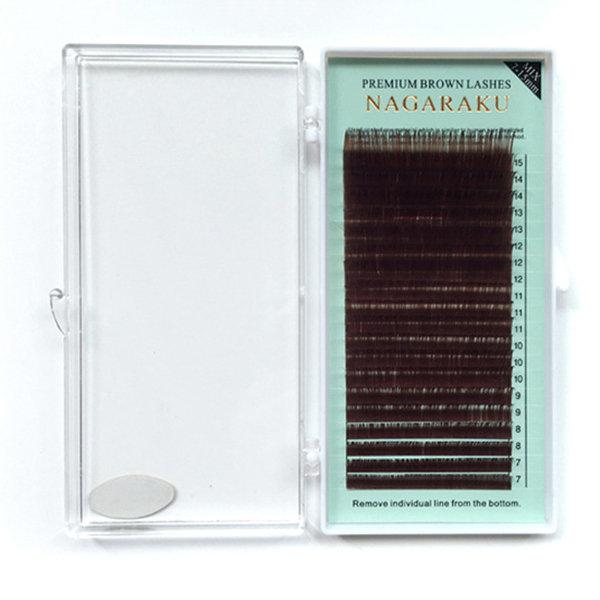 NAGARAKU B C D Curl Eyelash Extensions Grafting Brown 0.07mm 0.10mm 0.15mm Thickness