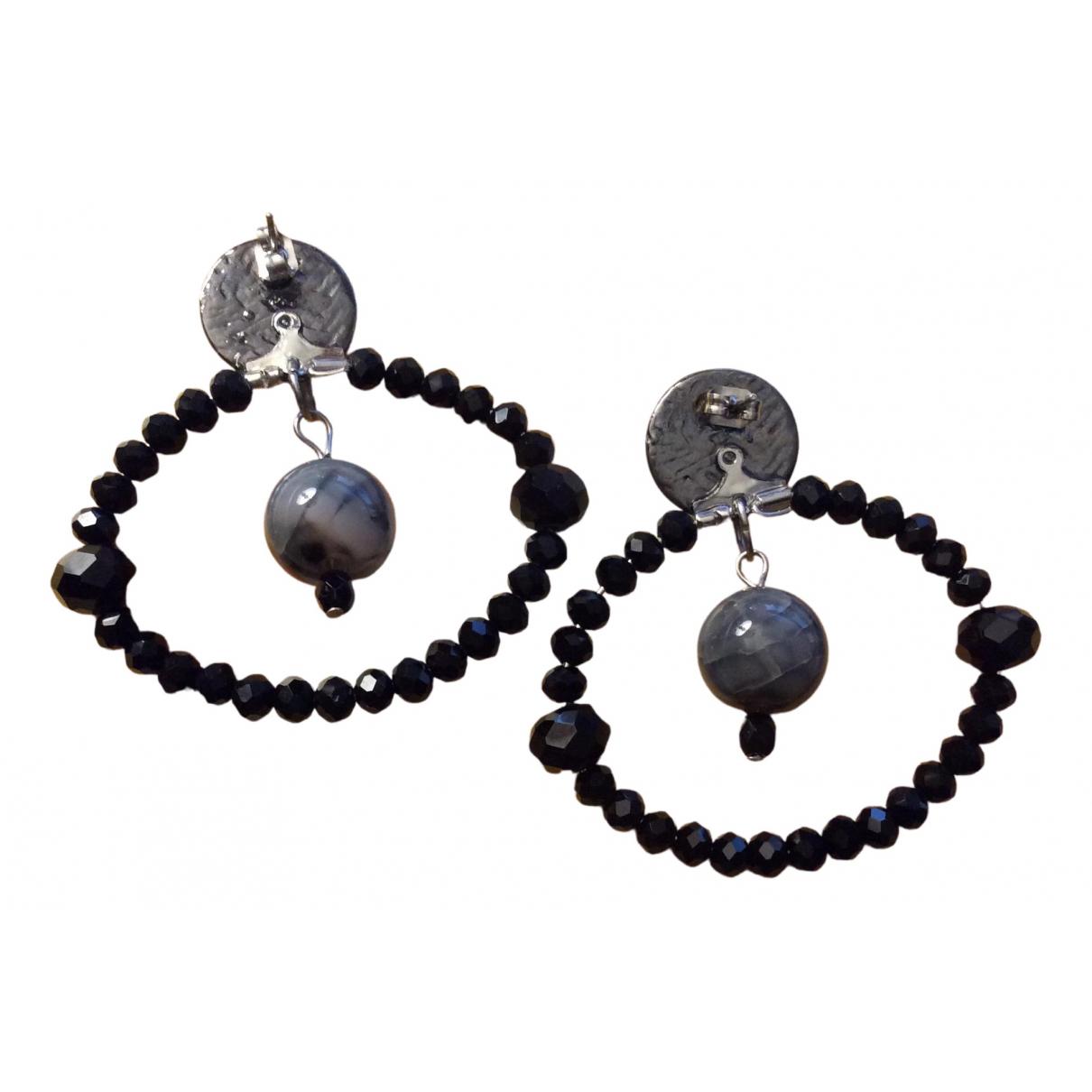 - Boucles doreilles Creoles pour femme en cristal - noir