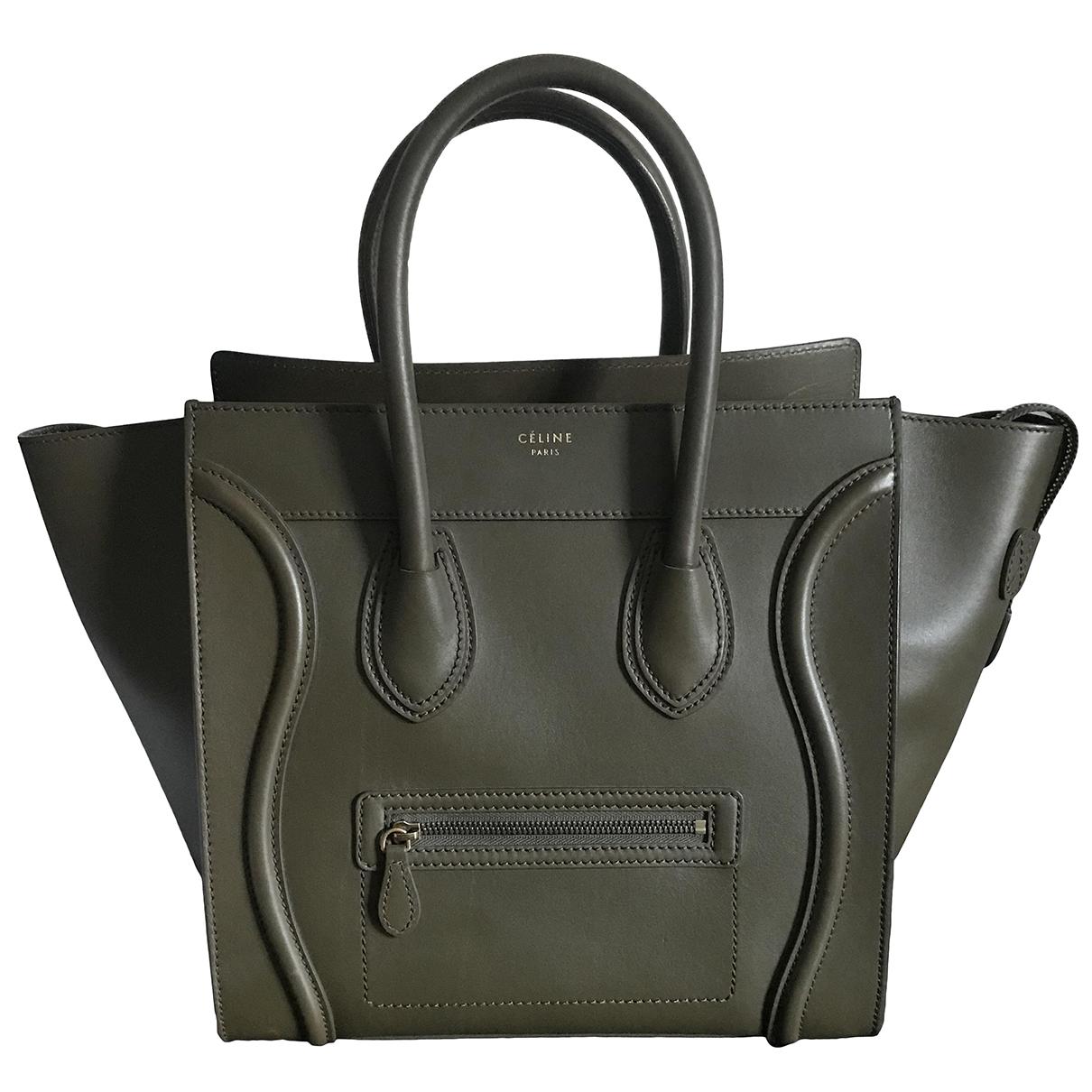 Celine Luggage Khaki Leather handbag for Women \N