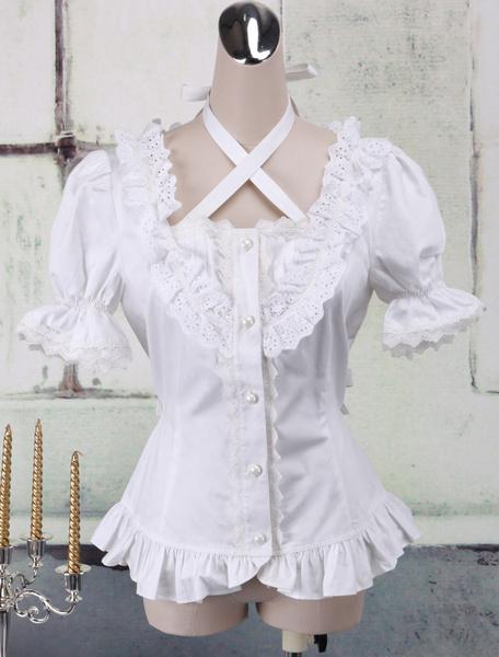 Milanoo White Cotton Lolita Blouse Short Sleeves Neck Straps Lace Trim Ruffles