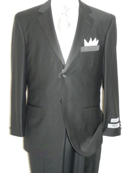 Black Tuxedo Soft Micro Fiber Notch Lapel 2 Button Plain Front Pants