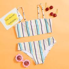 Maedchen Bikini Badeanzug mit Streifen