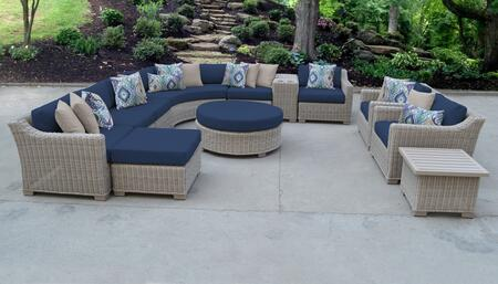 Coast Collection COAST-12a-NAVY 12-Piece Patio Set 12a with 2 Corner Chair   3 Armless Chair   1 Ottoman   1 End Table   1 Cup Table   1 Round Coffee