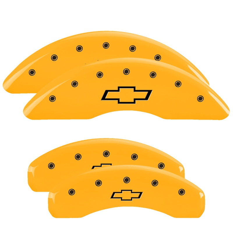 MGP Caliper Covers 14011SBOWYL Set of 4: Yellow finish, Black Bowtie/Bowtie Chevrolet