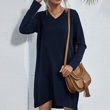 Solid V Neck Tee Dress