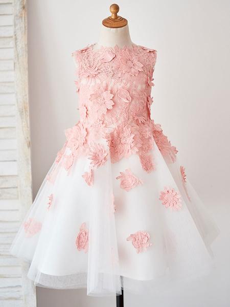 Milanoo Flower Girl Dresses Jewel Neck Sleeveless Flowers Kids Party Dresses