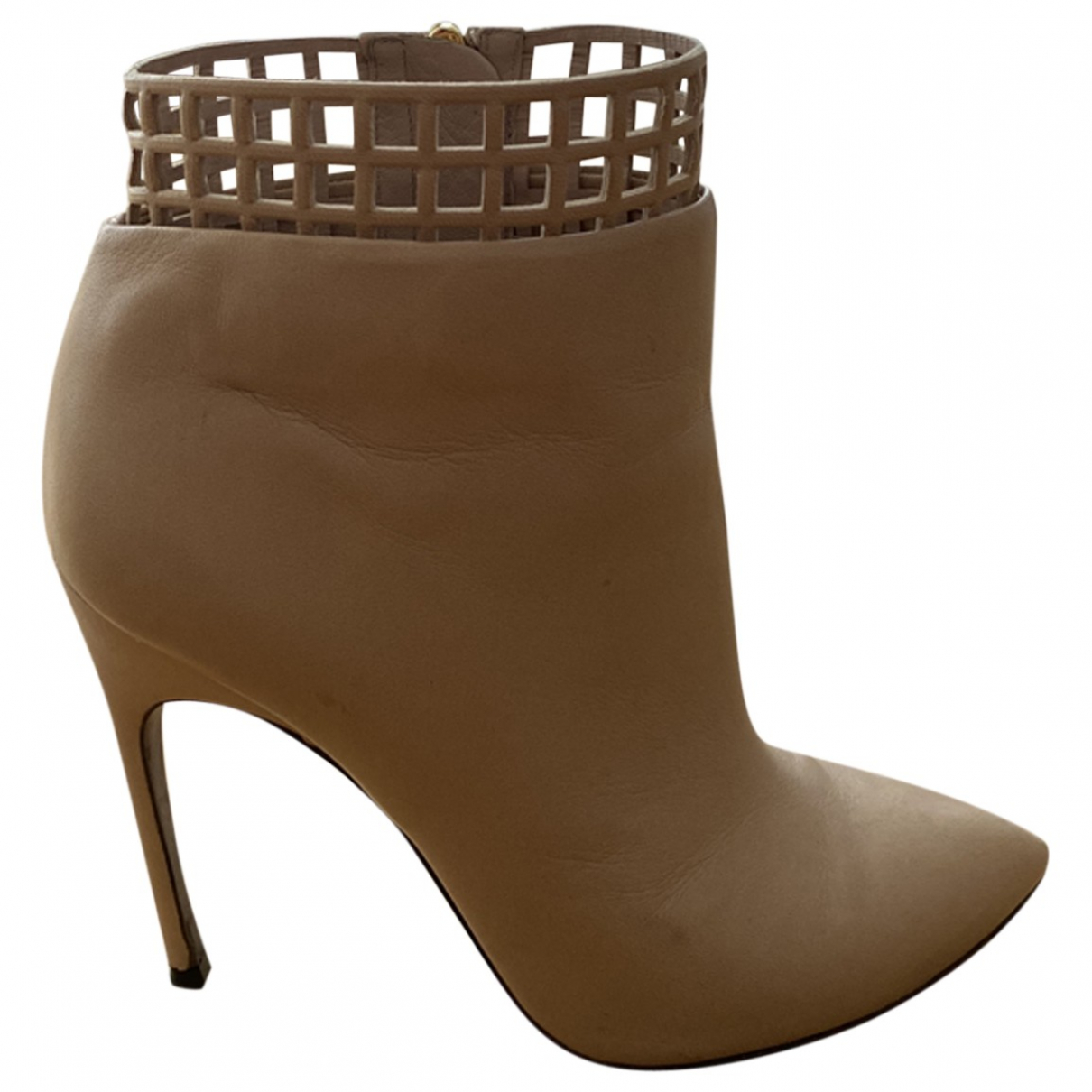 Sergio Rossi \N Beige Leather Ankle boots for Women 39.5 EU