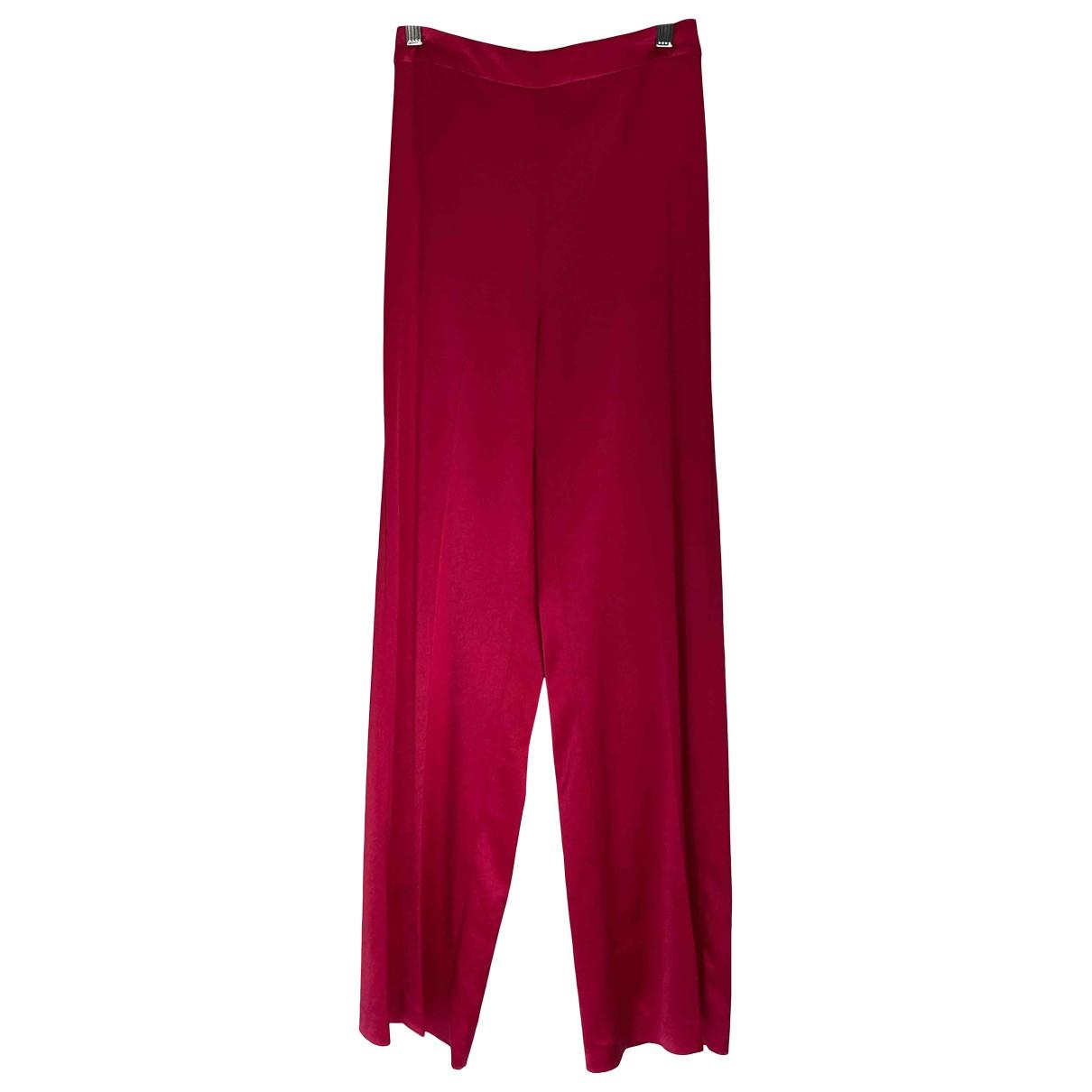 Pinko \N Pink Silk Trousers for Women 38 IT