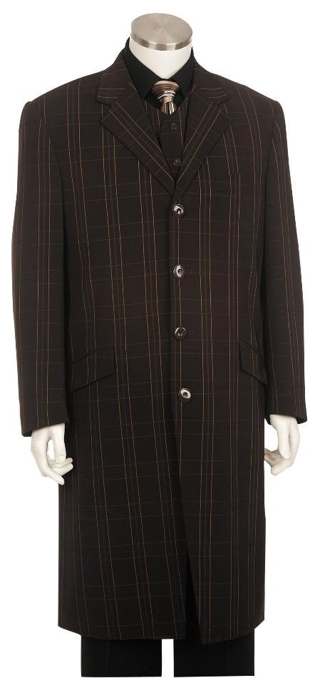 4 Button Fashion Brown Zoot Suit Mens