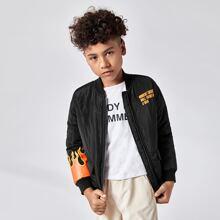 Boys Fire &  Slogan Graphic Padded Jacket