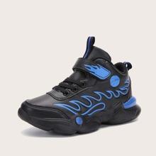 Boys Flame Pattern Velcro Strap Sneakers