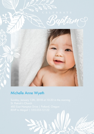 Christening + Baptism 5x7 Cards, Premium Cardstock 120lb with Rounded Corners, Card & Stationery -Celebrate Baptism - Blue