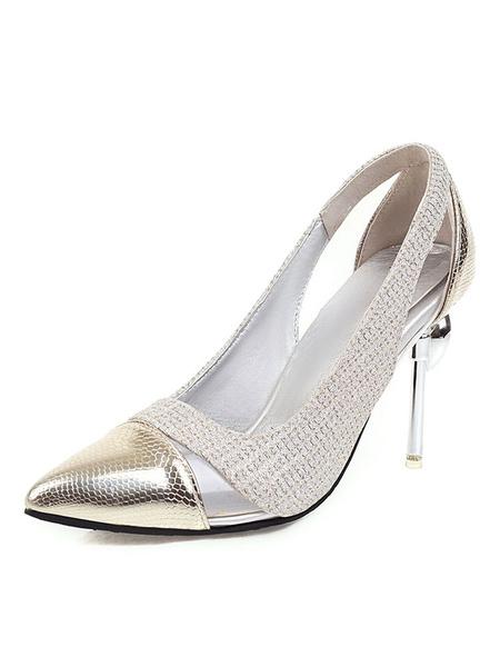 Milanoo Women\s Silver Pumps High Heels Pointed Toe Color Block Stiletto Heel Plus Size Shoes