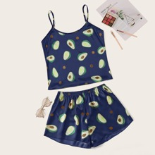 Satin Cami Schlafanzug Set mit Avocado Muster