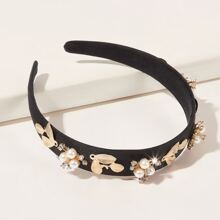 Faux Pearl & Leaf Decor Headband