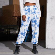 Pantalones deportivos de tie dye de cintura elastica